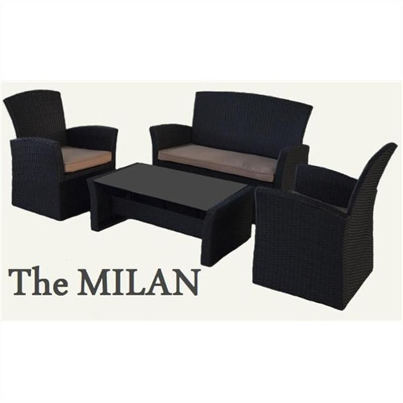 MILAN 4 Seater Wicker Sofa Setting (BLACK) UV Treated Weather Proff