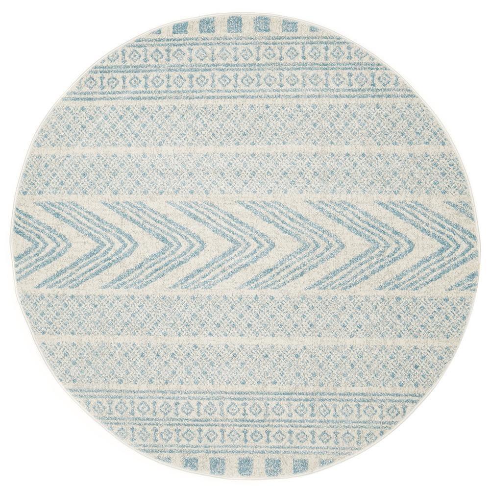 Mirage Adani Modern Tribal Round Rug, 200cm, Sky Blue