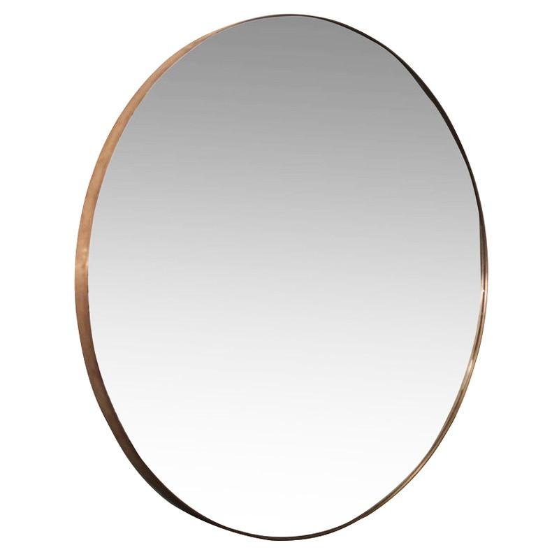 Amiee Copper Frame Round Wall Mirror, 120cm