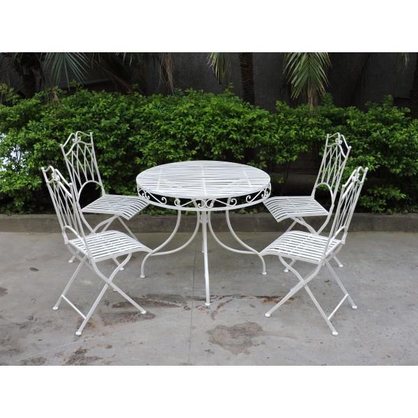 Albany 5 Piece Iron Round Garden Table Set, 90cm