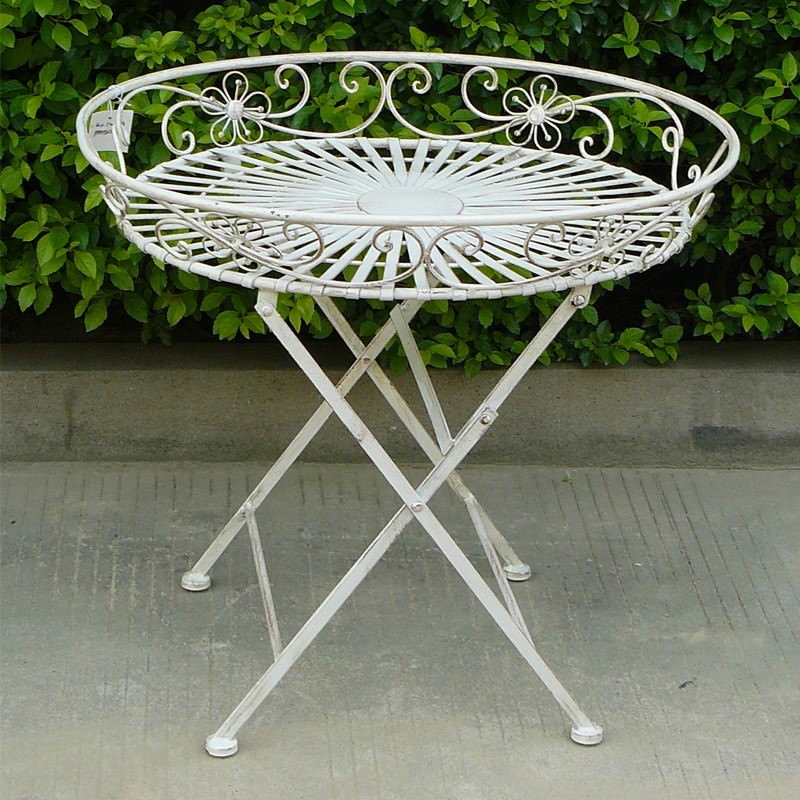 Amy Metal Round Tray Table, Antique White