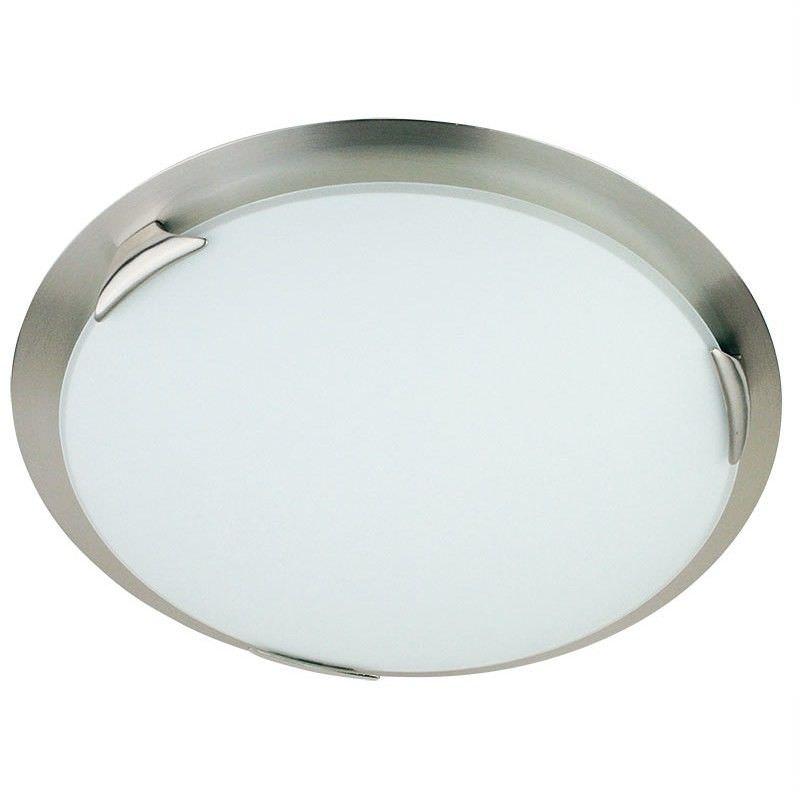 Orion Round Opal Matt Glass 60wx2 Ceiling Light - Brushed Chrome (Oriel Lighting)