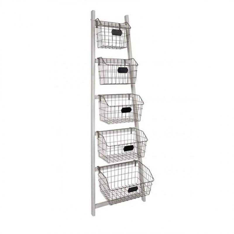 Asaph 5 Metal Basket Ladder Storage Unit