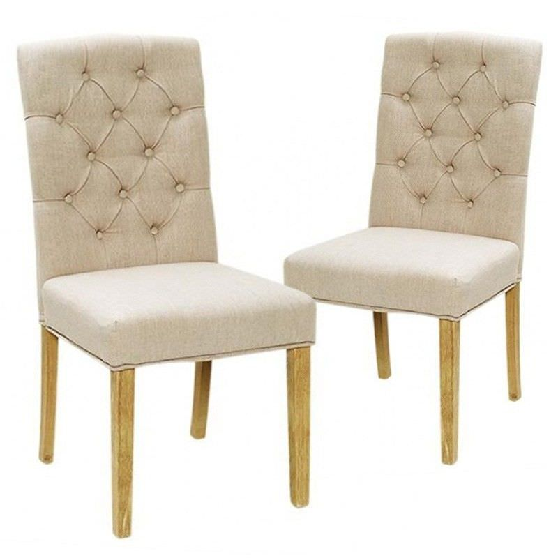 Set of 2 Moirs Tufted Fabric Dining Chairs