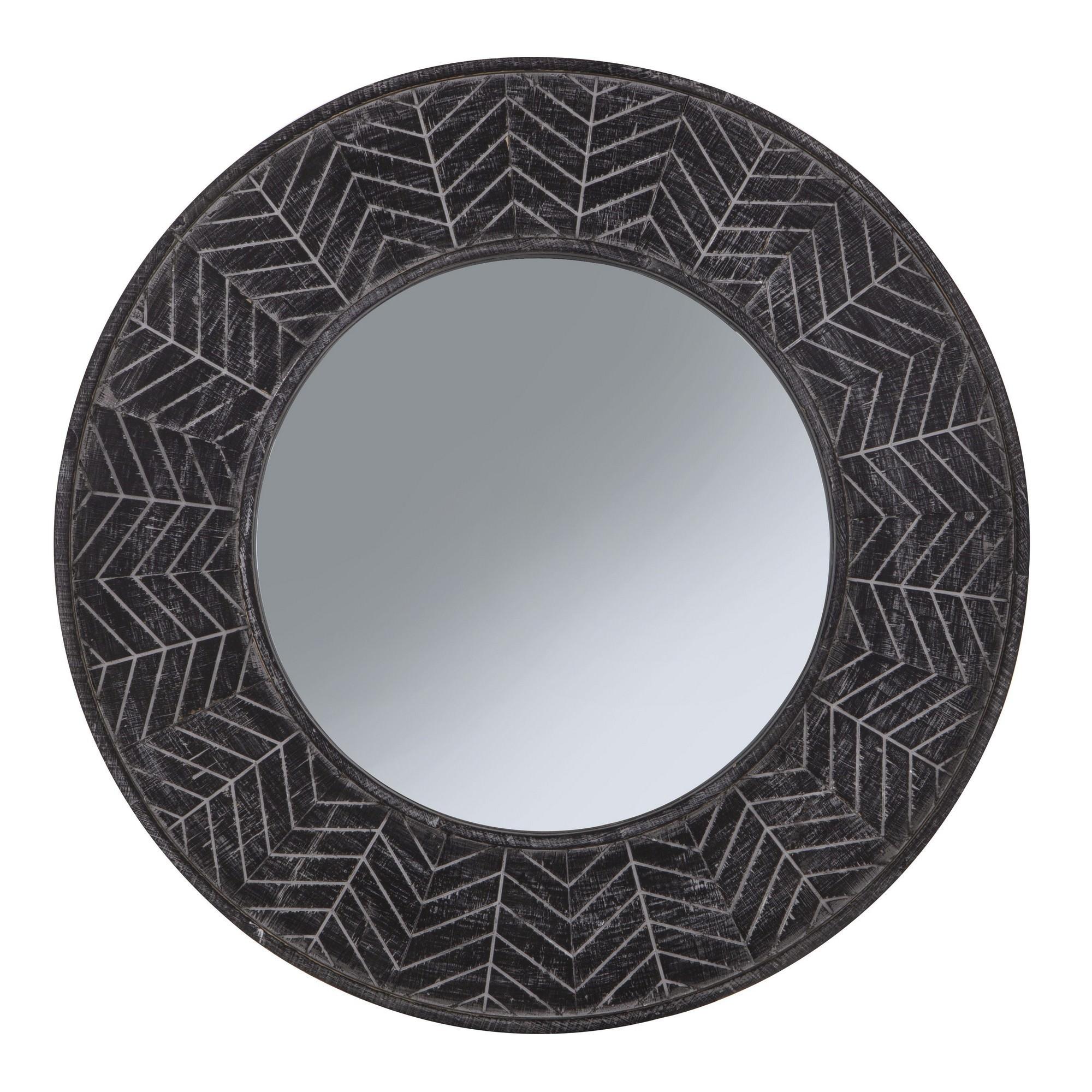 Aero Handmade Wooden Frame Round Wall Mirror, 80cm