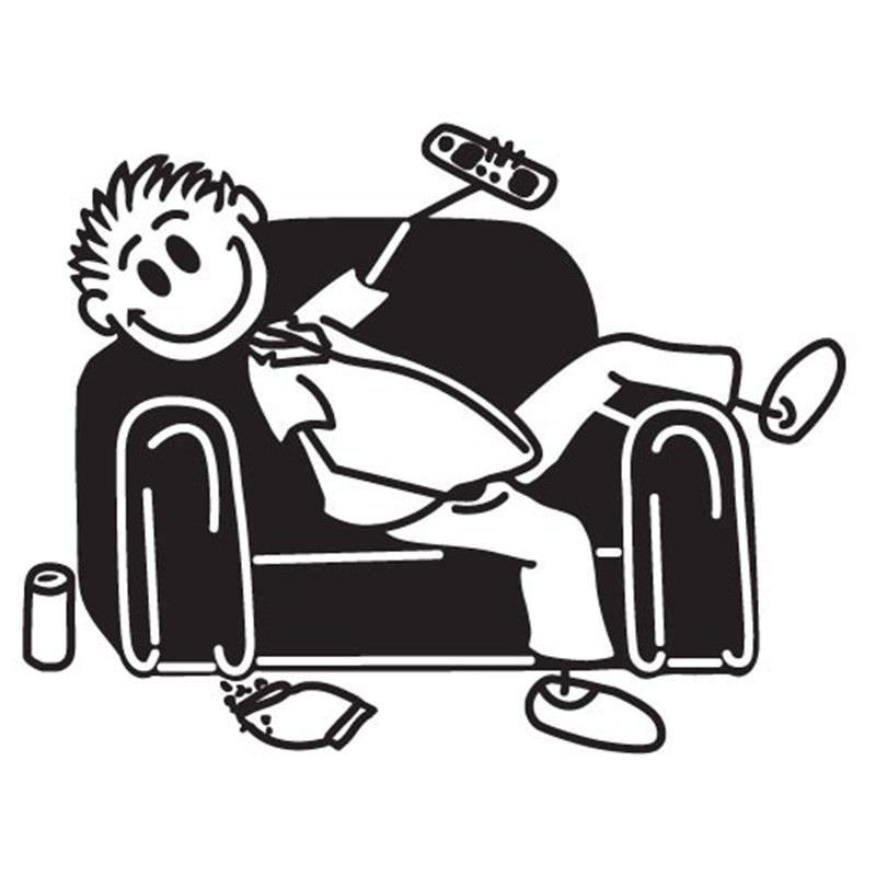 Couch Man Funny Family Car Sticker