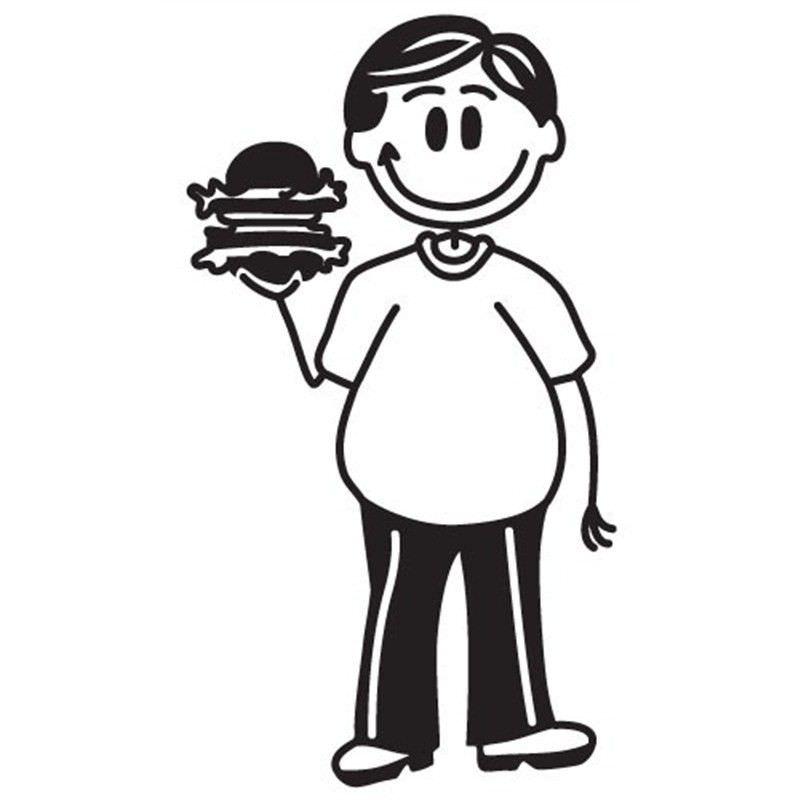 Burger Man Funny Family Car Sticker