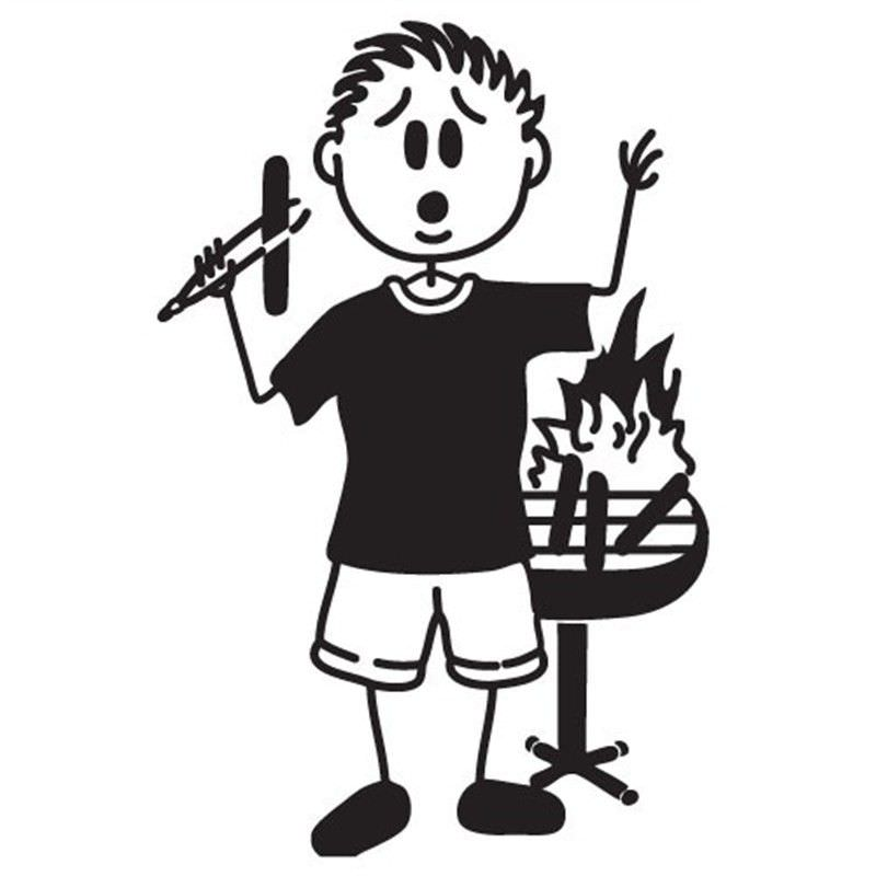 BBQ Fire Man Funny Family Car Sticker