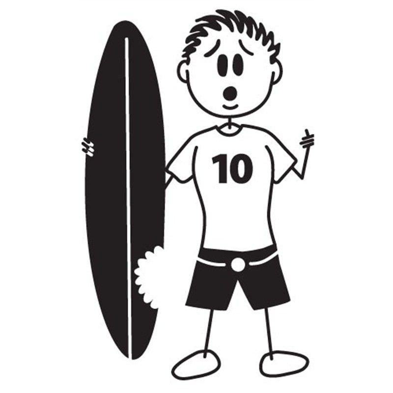 Shark Attack Surfer Man Funny Family Car Sticker