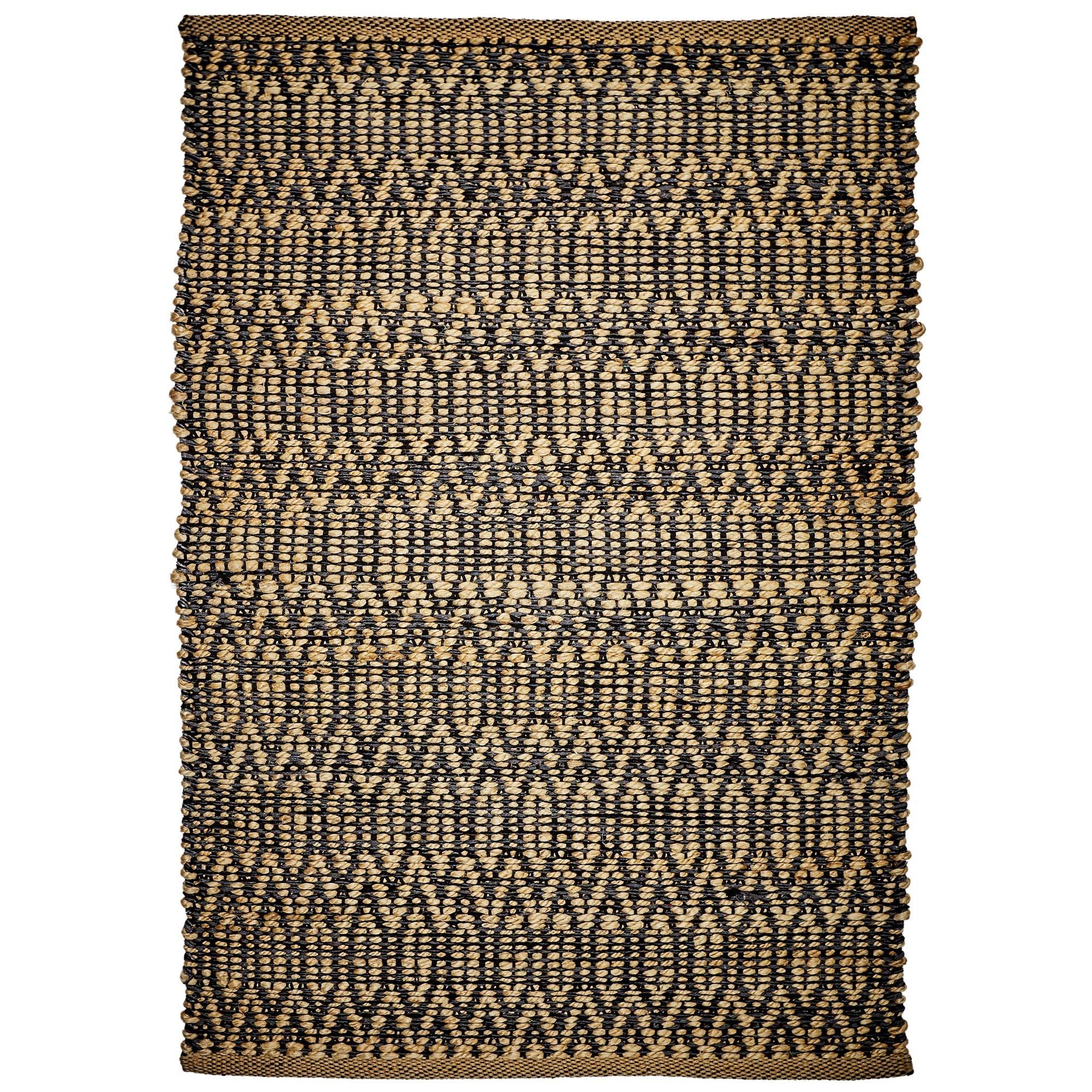 Minar Jute & Cotton Rug, 290x190cm, Black / Natural