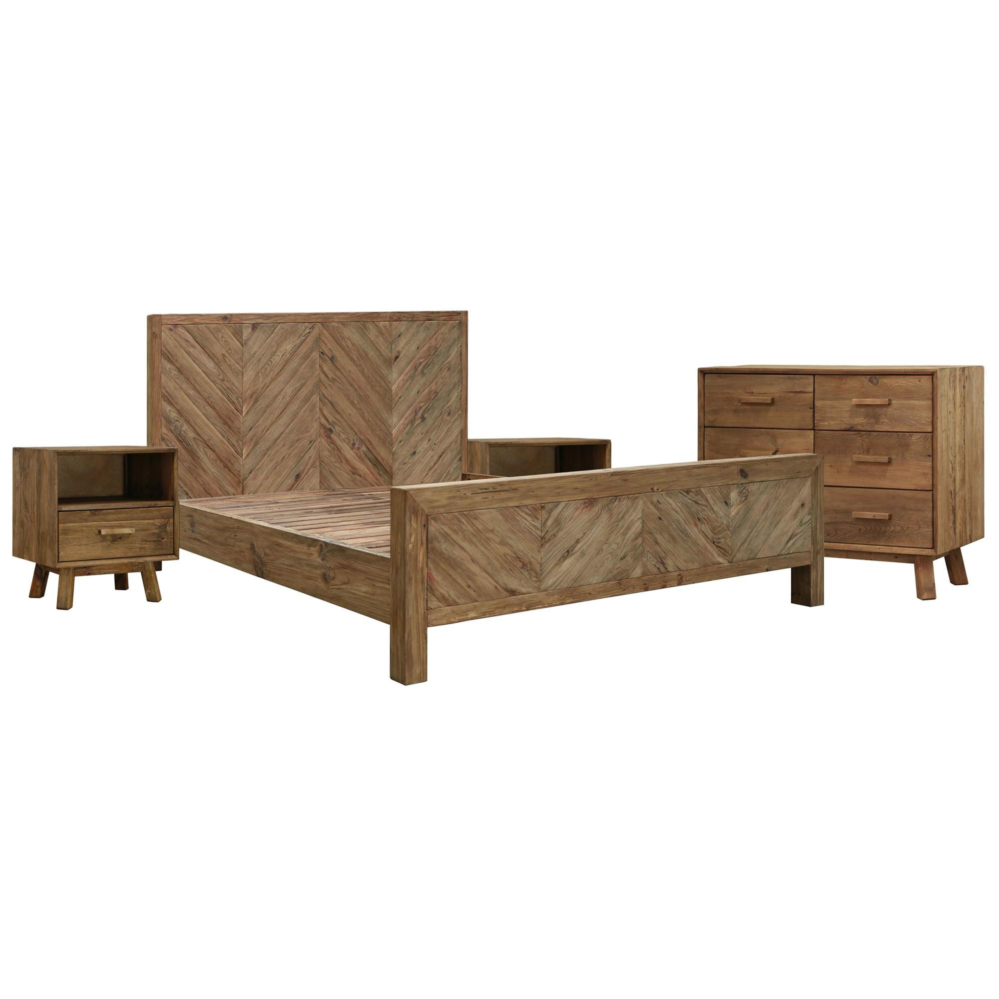 Mandalay Recycled Pine Timber 4 Piece Bedroom Dresser Suite, Queen