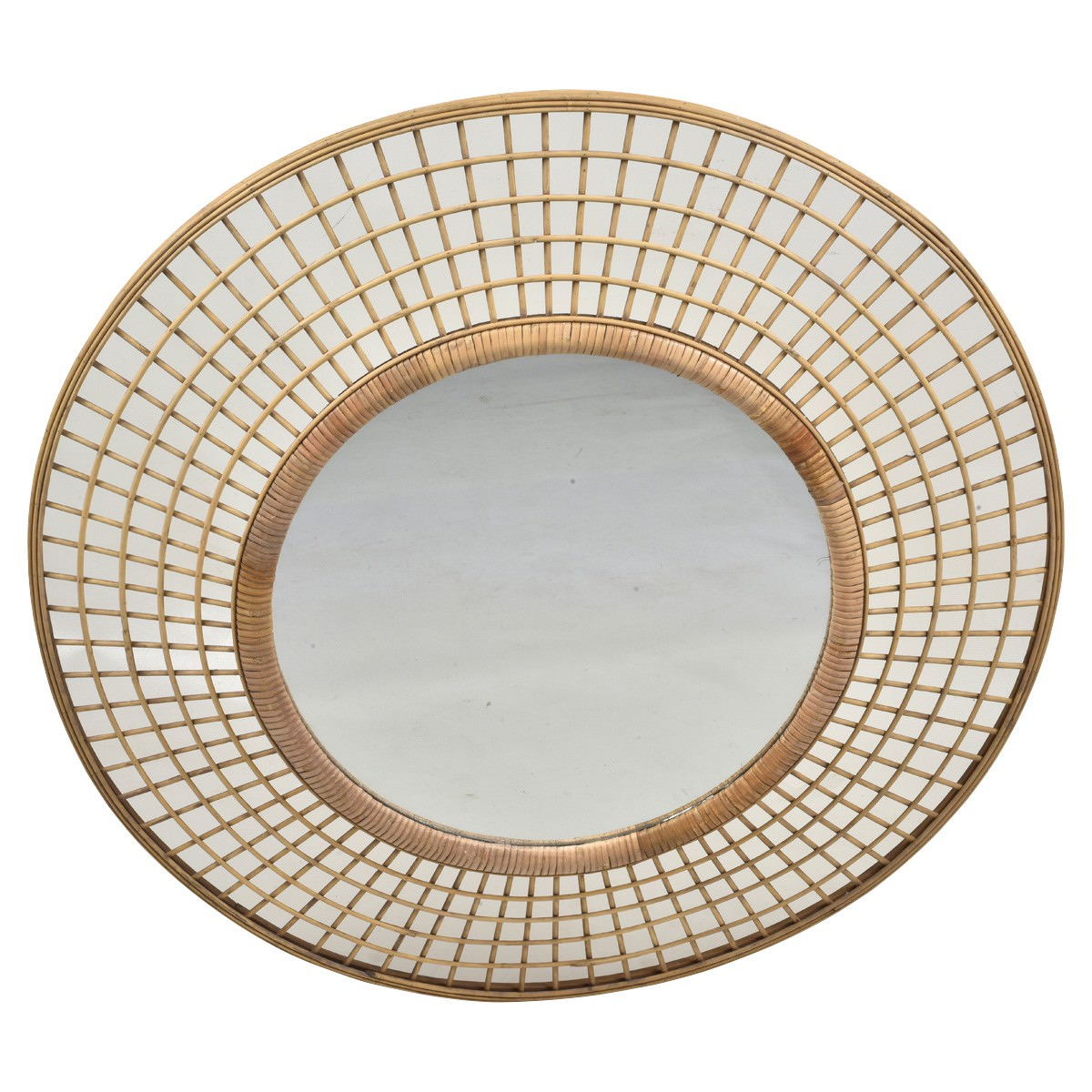 Royena Bamboo Rattan Framed Round Wall Mirror, 90cm