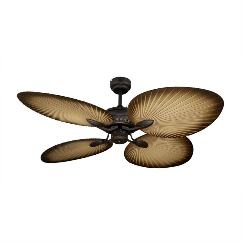 Oasis Tropical Style Palm Leaf Blade Ceiling Fan by Martec - Antique Bronze Finish