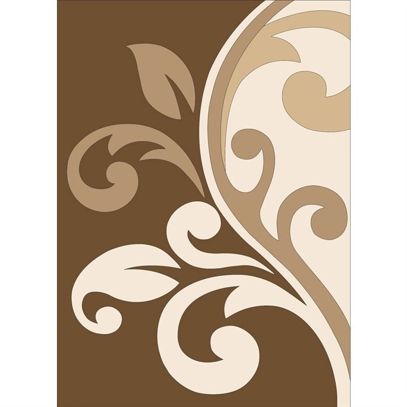 Mono Swirl Brown Contemporary Rug 150 x 210cm