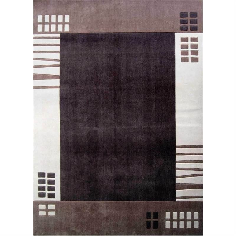 Mono Border Brown Contemporary Rug 190 x 280cm