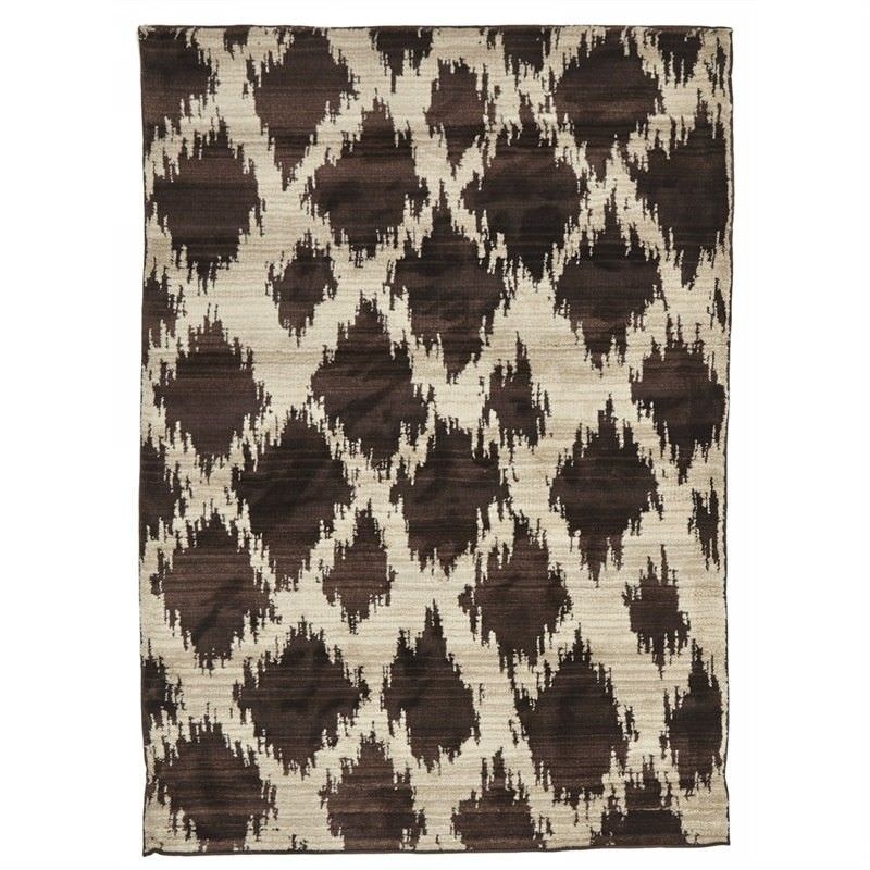 Egyptian Made Moroccan Cross Lines Design Rug in Chocolate - 330x240cm