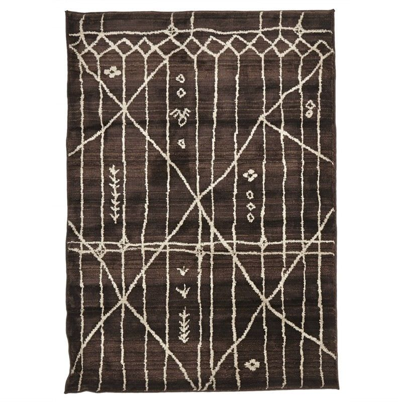 Egyptian Made Moroccan Tribal Design Rug in Chocolate - 290x200cm