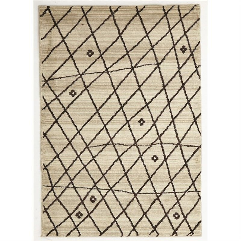 Egyptian Made Moroccan Random Lines Design Rug in Cream - 230x160cm