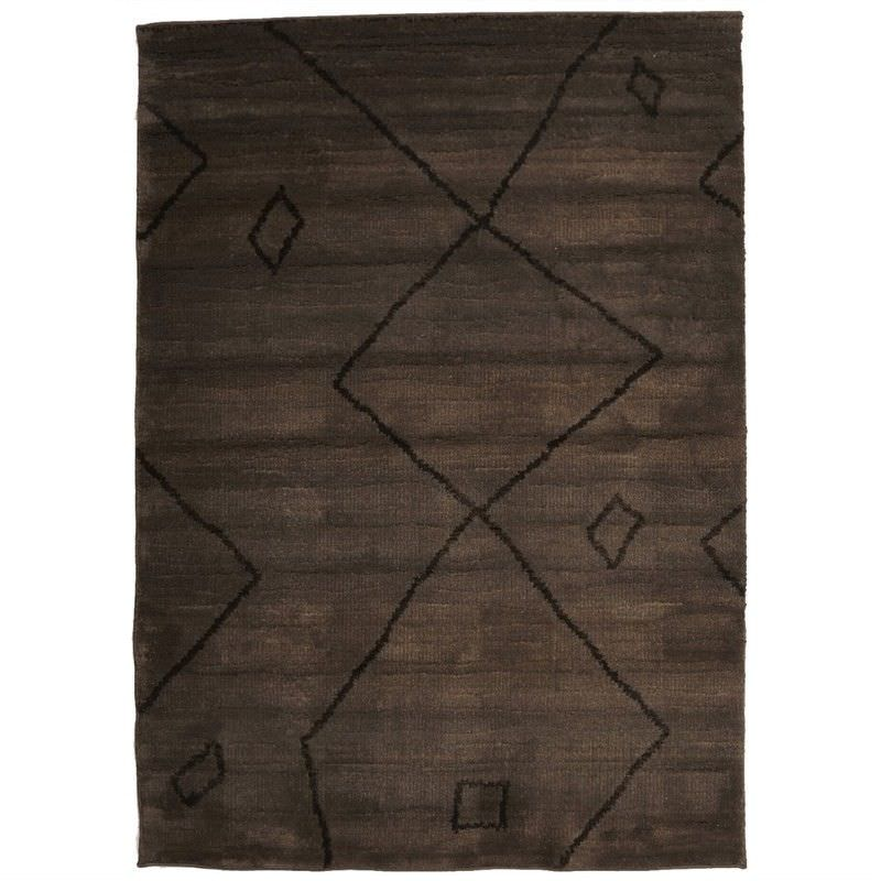 Egyptian Made Moroccan Diamond Lines Design Rug in Chocolate - 230x160cm