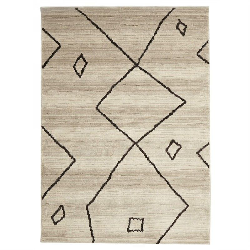 Egyptian Made Moroccan Diamond Lines Design Rug in Cream - 290x200cm