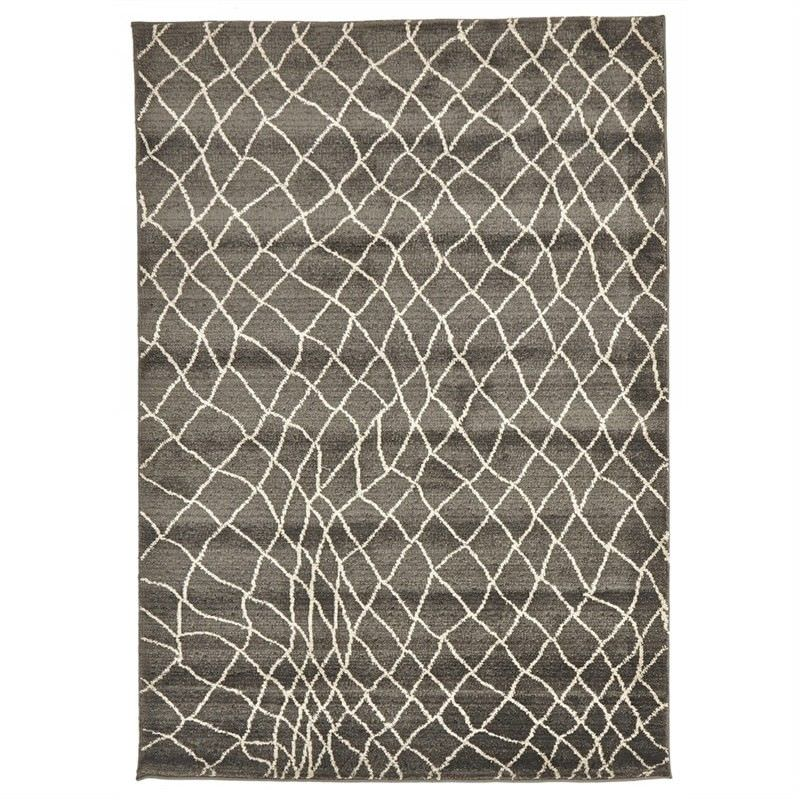Egyptian Made Moroccan Web Design Rug in Grey - 230x160cm