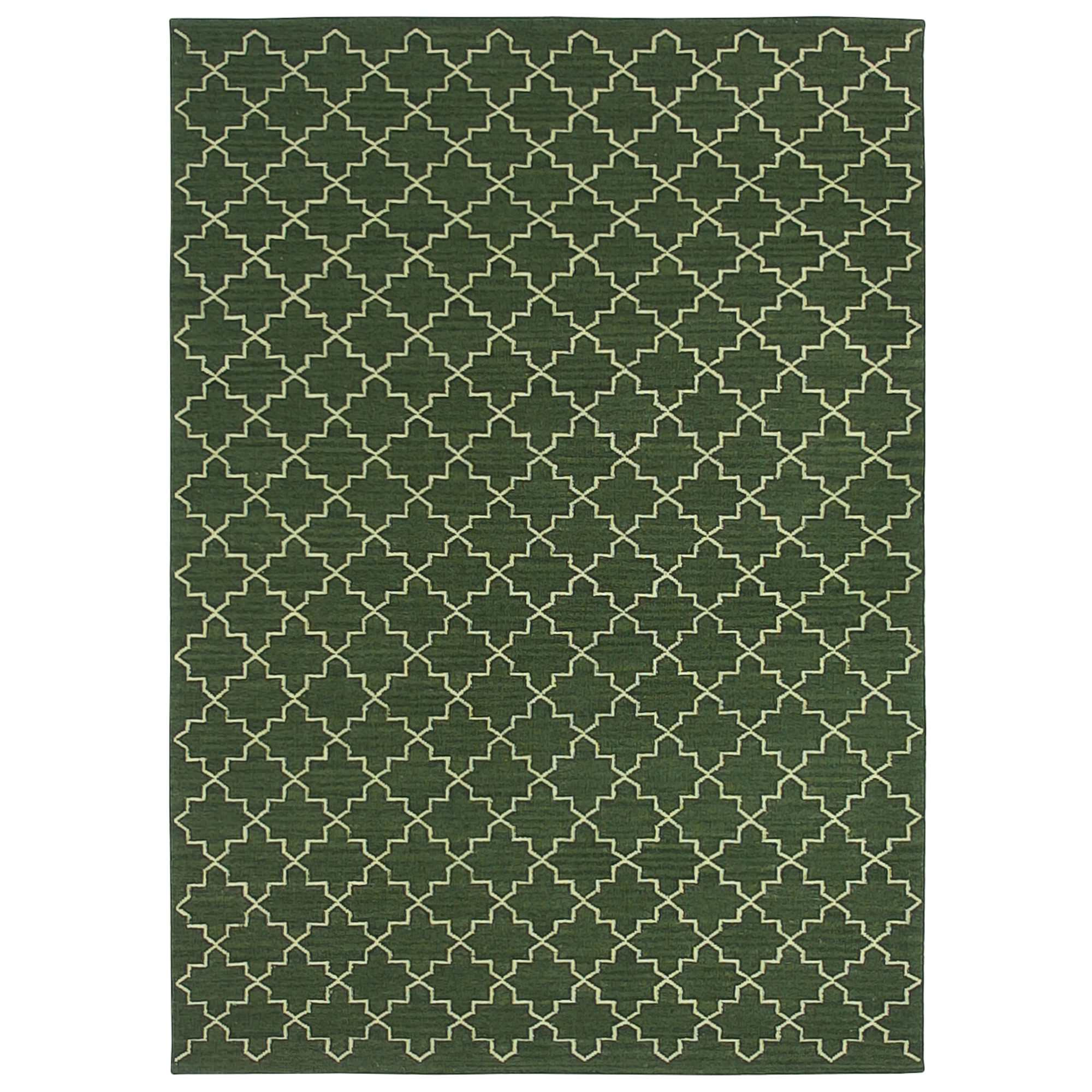 Moroc Handwoven Wool Rug, 200x300cm, Forest Green