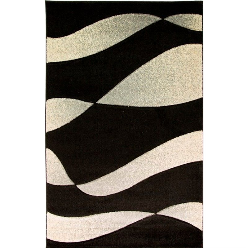 Turkish Made Orleans Organza Abstract Rug in Silver and Black - 190x280cm