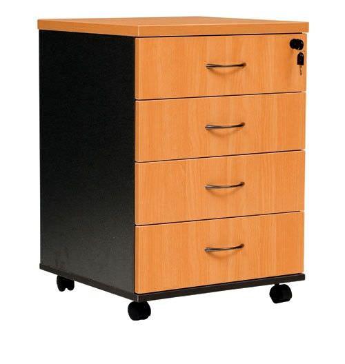Logan 4 Drawer Mobile Pedestal, Beech / Black