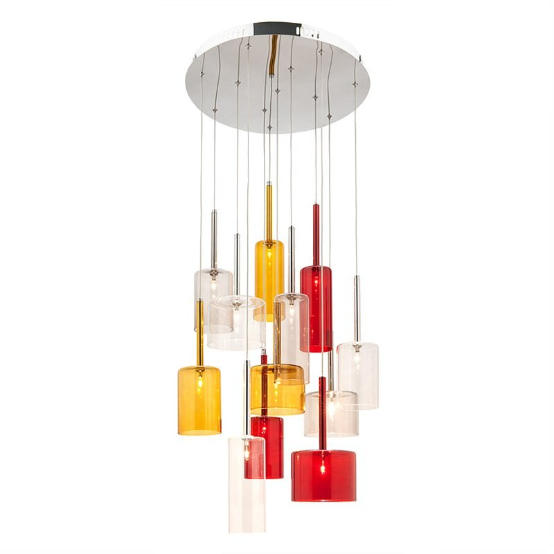Torino 12 Light Pendant - Red, Smoke, Amber and Clear