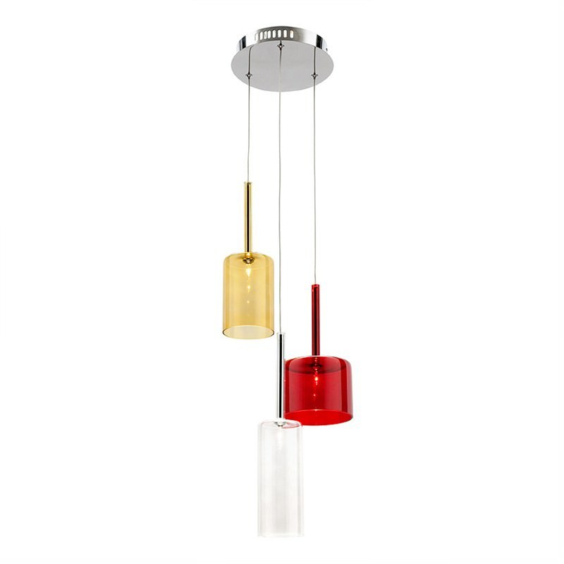 Torino 3 Light Pendant - Amber, Clear and Red