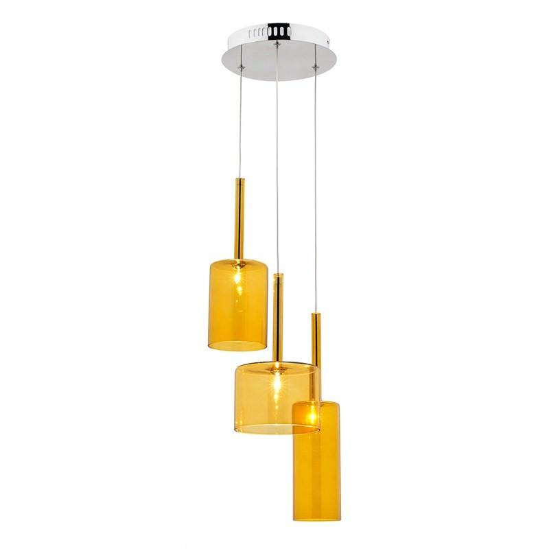 Torino 3 Light Pendant - Amber