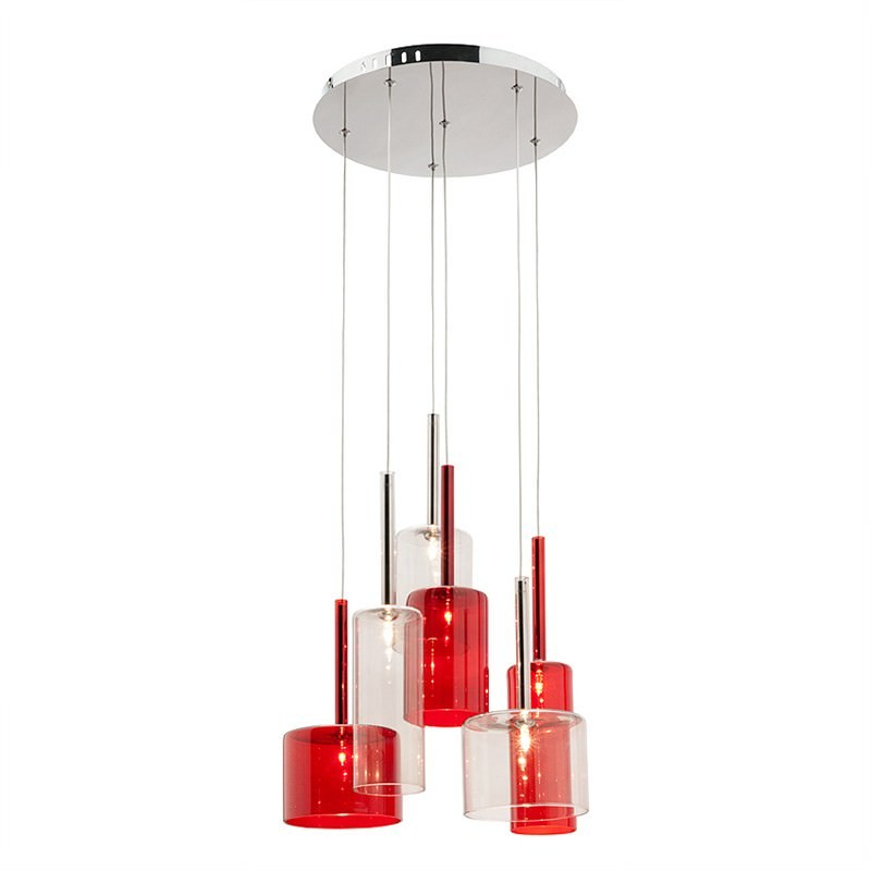 Torino 6 Light Round Pendant - Red and Clear