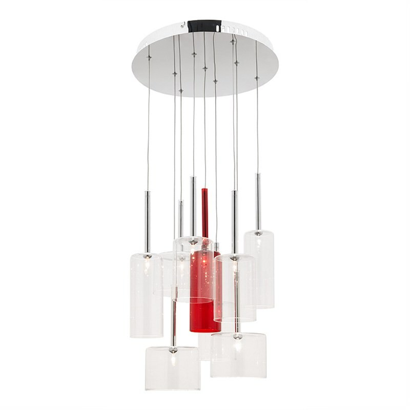 Torino 9 Light Round Pendant - Clear and Red
