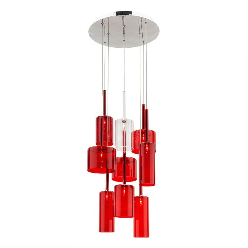 Torino 9 Light Round Pendant - Red and Clear
