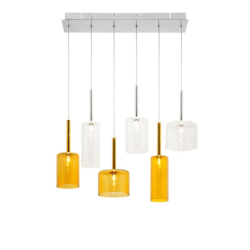 Torino 6 Light Bar Pendant - Amber and Clear