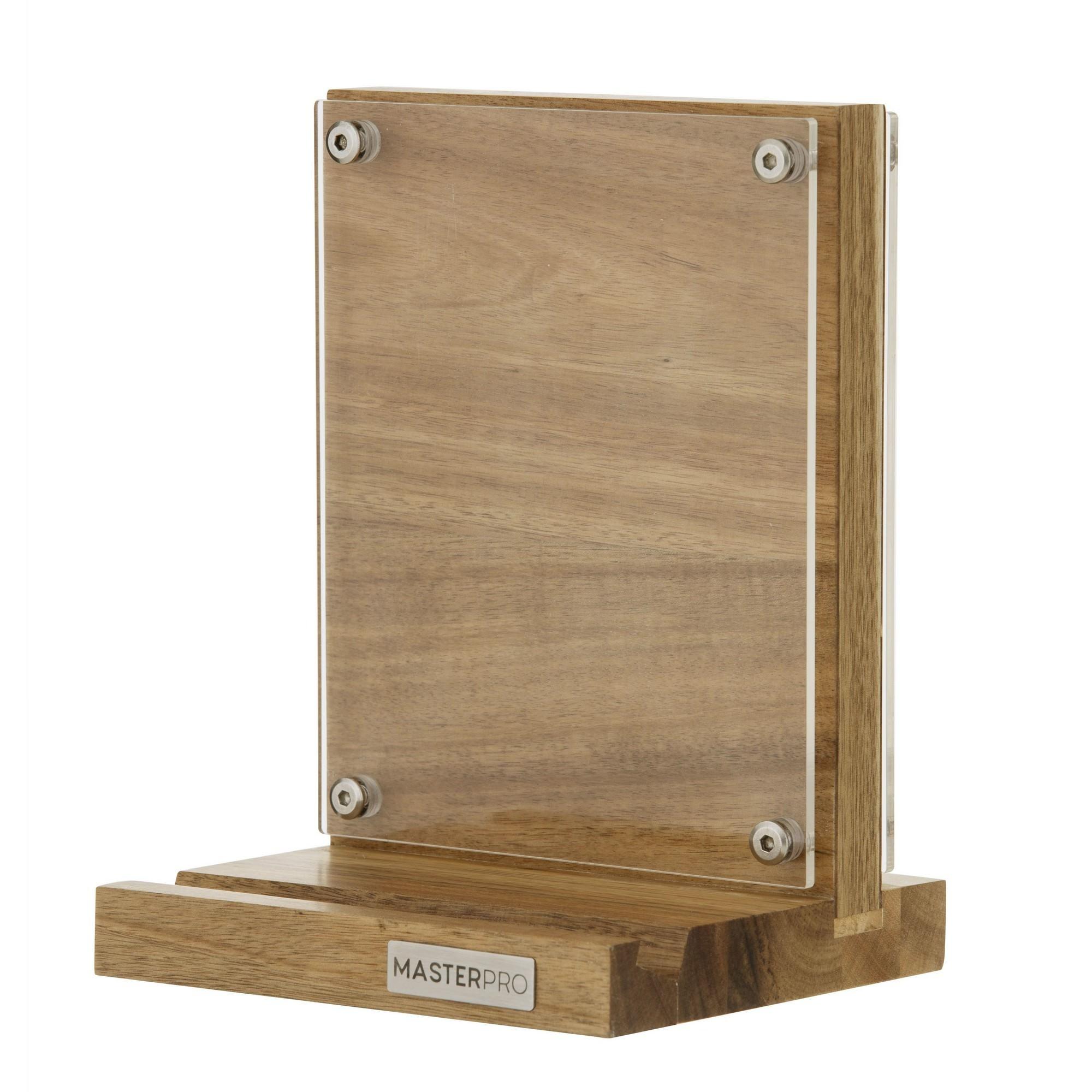 Masterpro Acacia Timber Magnetic Knife Block & Recipe Holder