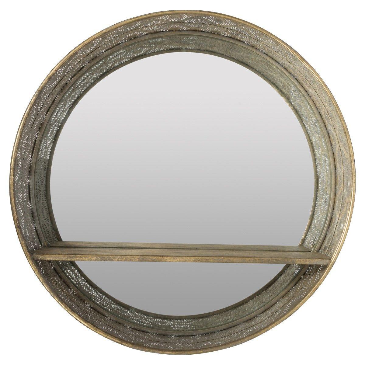 Aladdin Filigree Metal Frame Round Wall Mirror with Shelf, 60cm