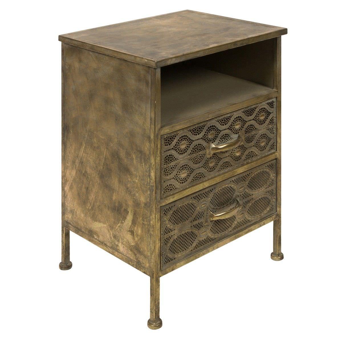Aladdin Metal Filigree 2 Drawer Bedside Table, Antique Brass