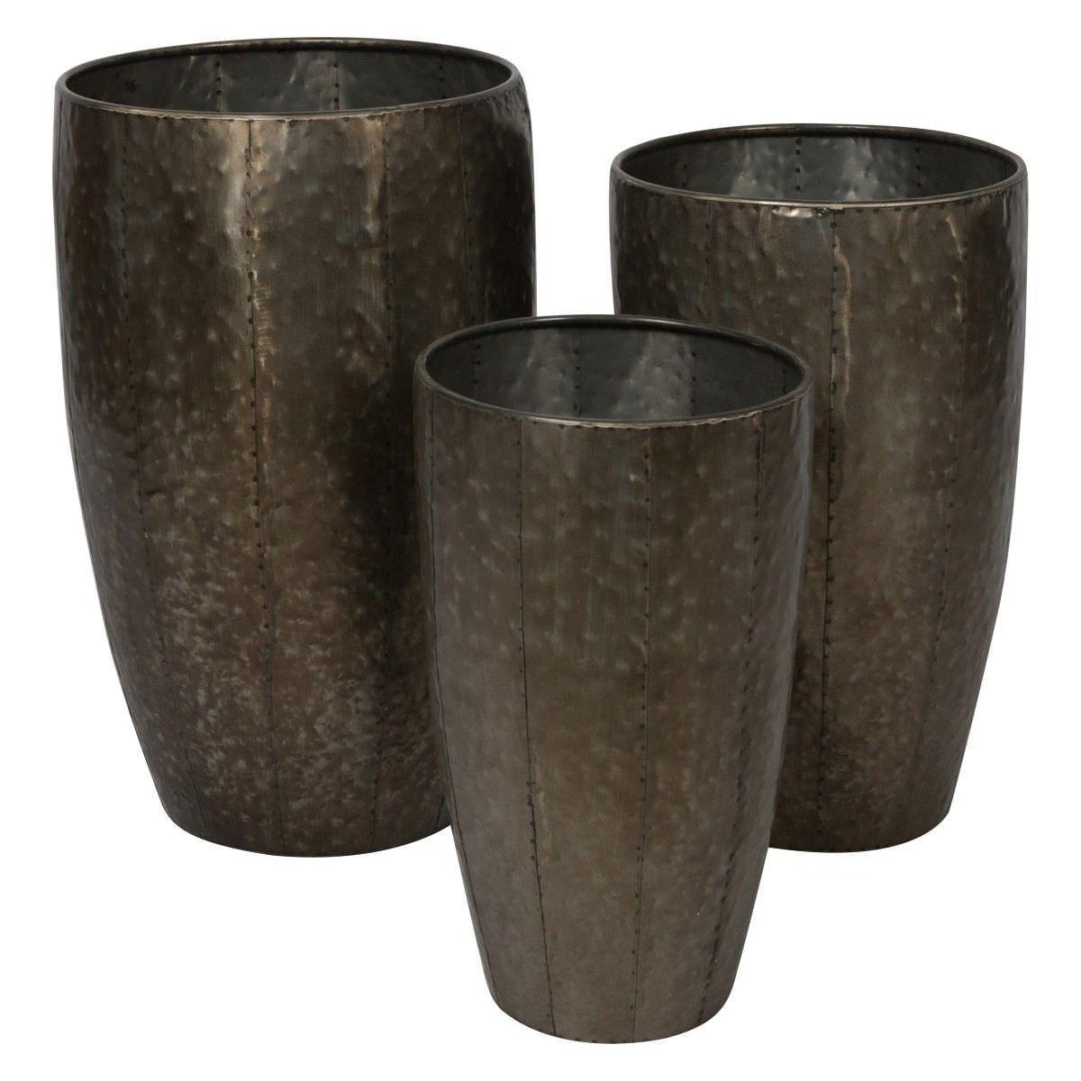 Calbina 3 Piece Metal Planter Pot Set, Bronze