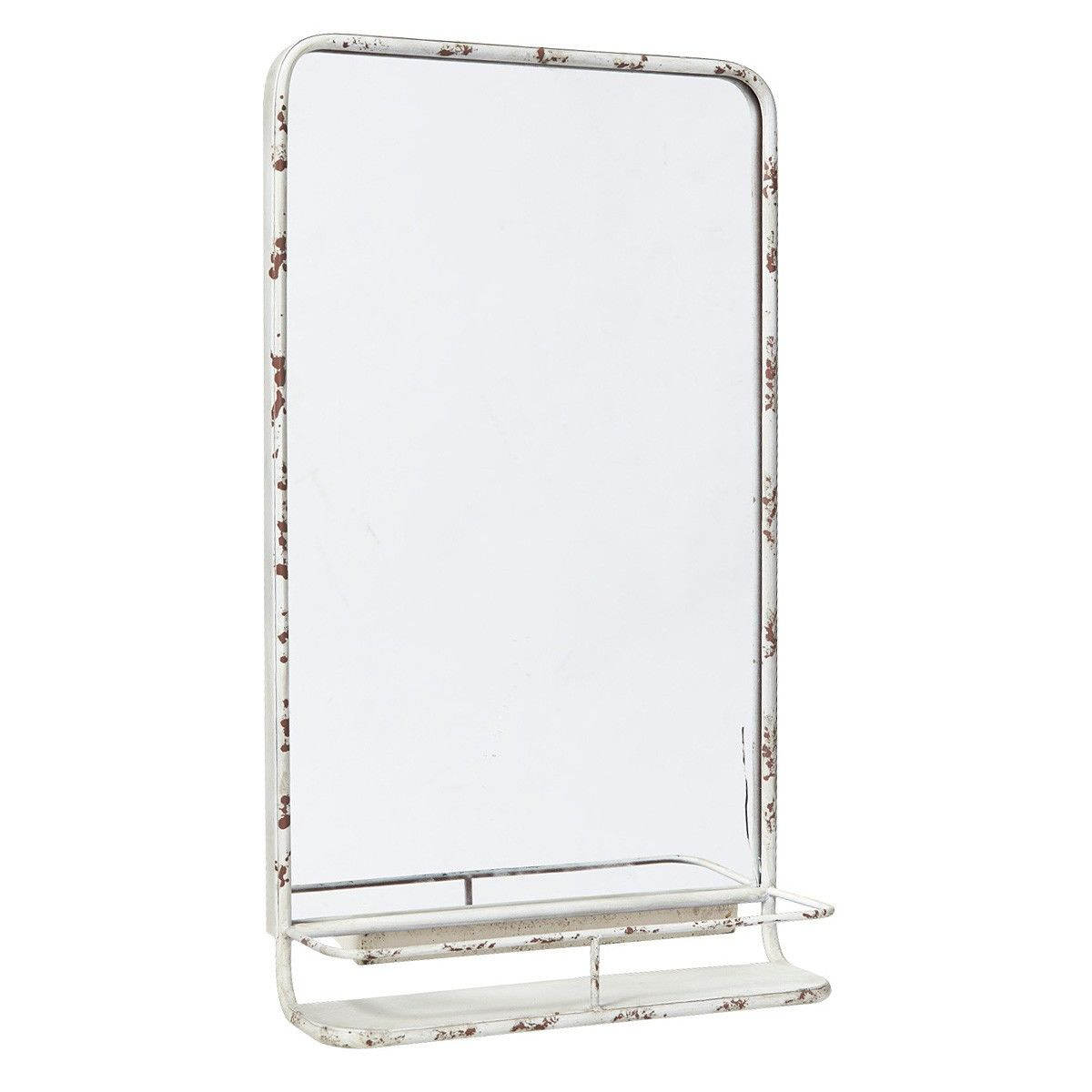 Hoover Industrial Iron Frame Leaner Wall Mirror with Shelf, 80cm, Rustic White