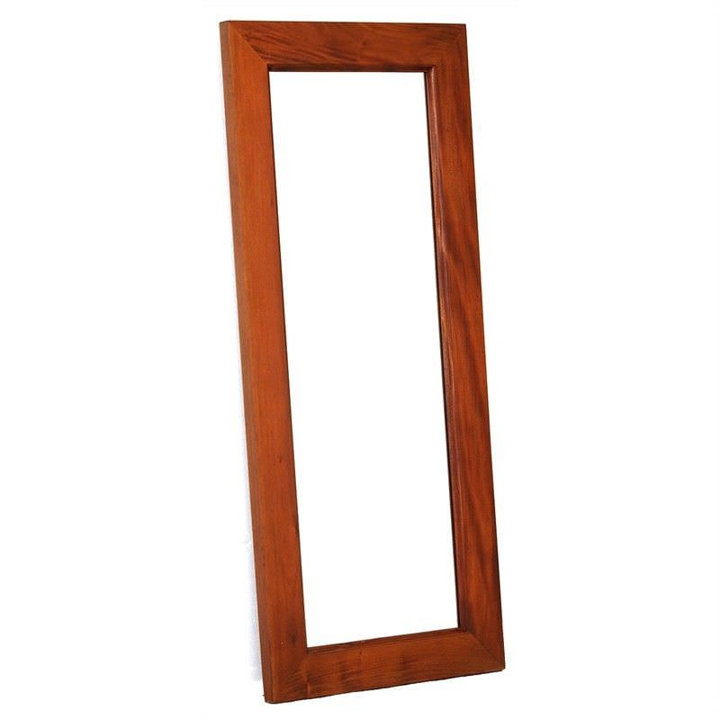 Hadley Solid Mahogany Timber Slim Floor Mirror - Light Pecan