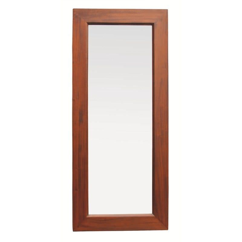 Hadley Solid Mahogany Timber Slim Floor Mirror - Mahogany