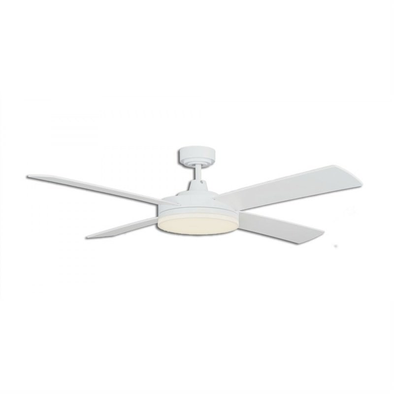 Martec Razor 4 Plywood Blade Fan (MRF1343W) with Dimmable 3000k LED Light in White