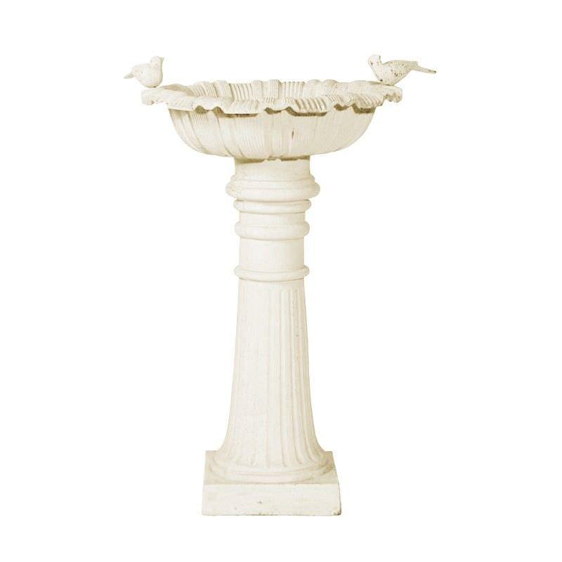 Roman Cast Iron Garden Bird Bath Antique White