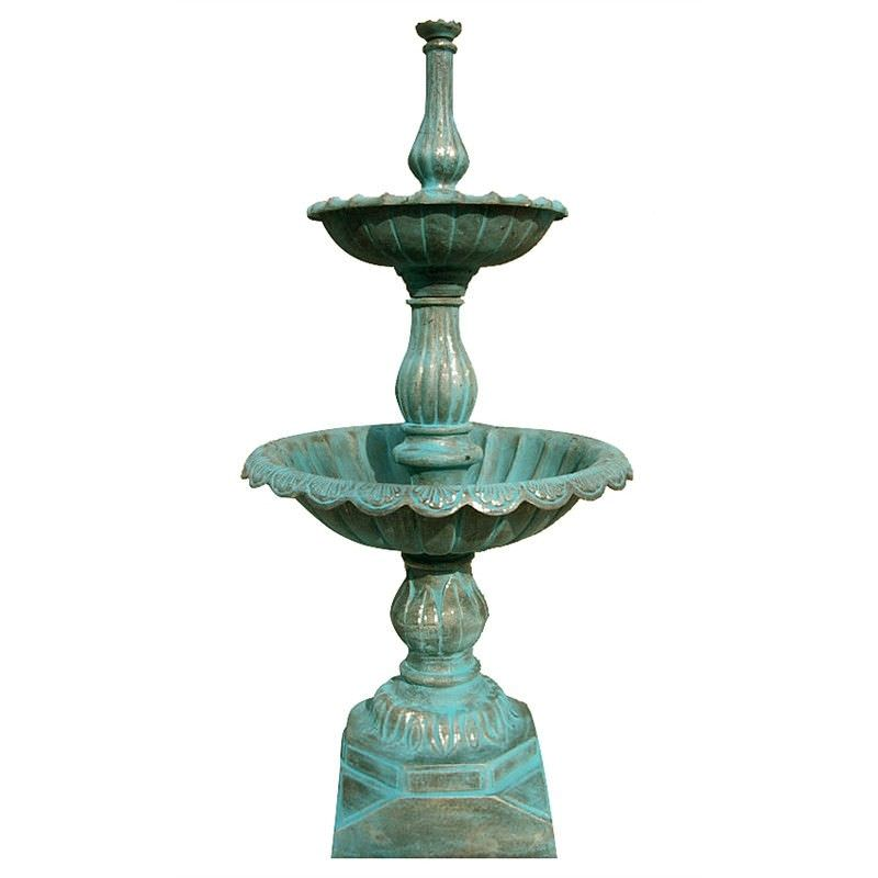 Lisbon Cast Iron 2 Tier Carden Fountain - Moss Green
