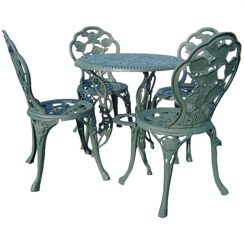 Rose Garden 5 Piece Cast Iron Outdoor Table Set - Verdigris