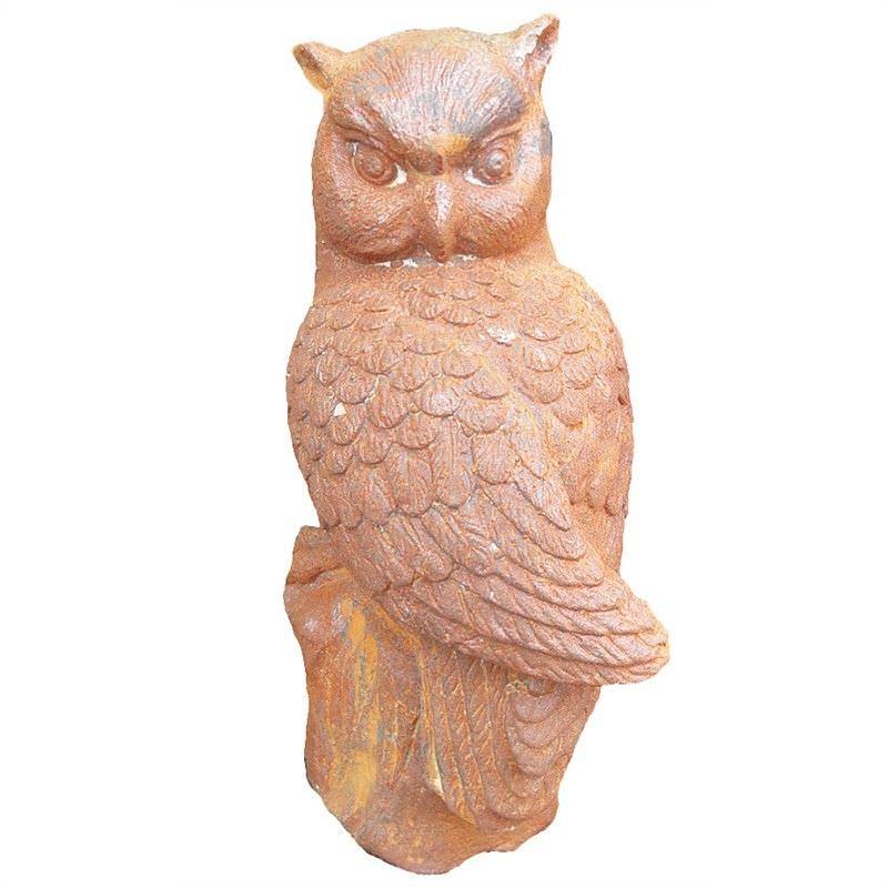 Night Watcher Gast Iron Owl Figurine Garden Decor