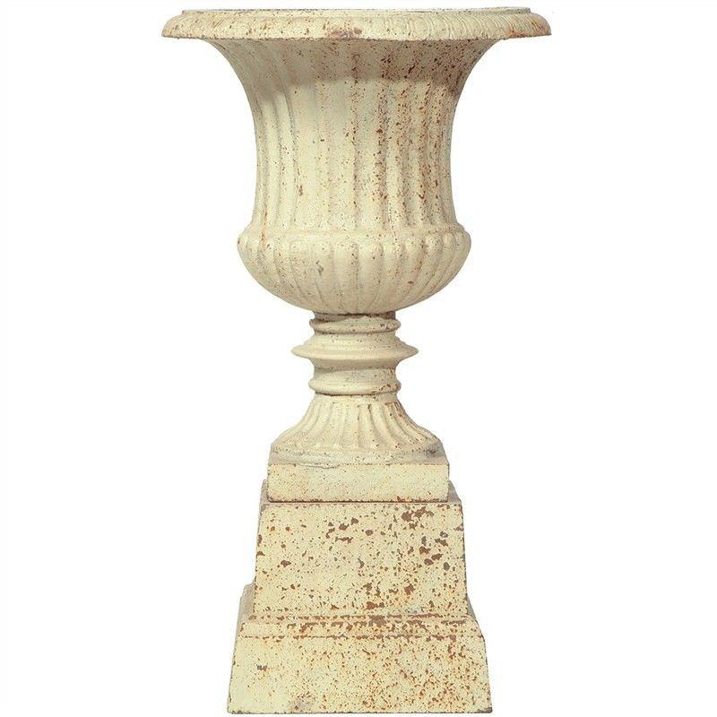Barrowton Large Cast Iron Garden Urn Antique White