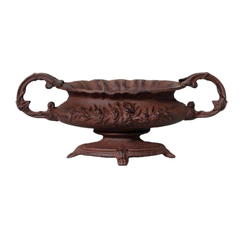Antique Rose Small Cast Iron Decor Urn - Rust