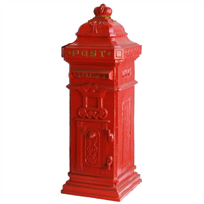 London Cast Iron Pillar Mailbox - Red